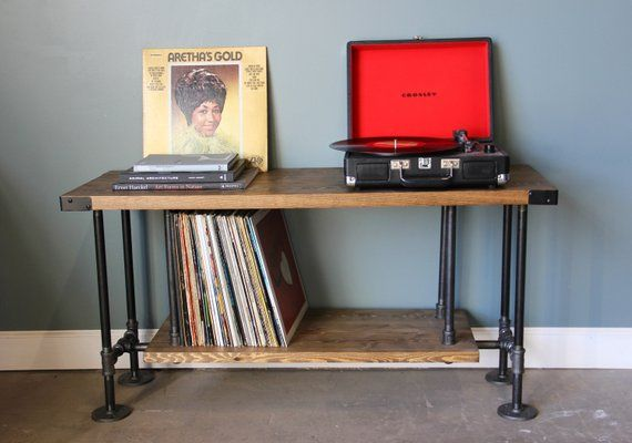 Vinyl Record Storage Record Player Stand Industrial Style Etsy Vinyl Record Storage Home Goods Decor Record Storage