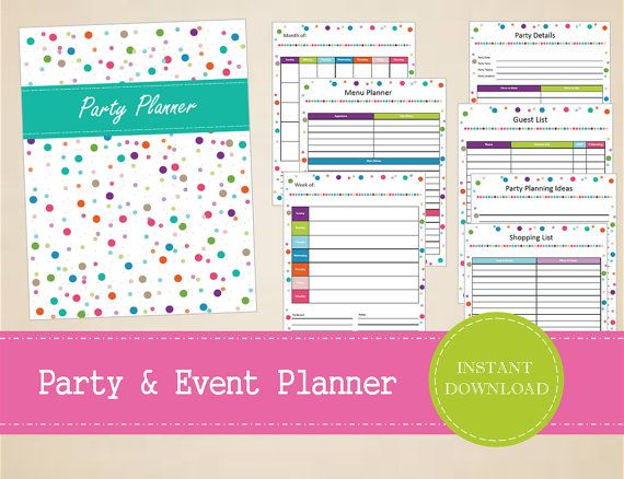 Party and Event Planner  Printable Party by MBucherConsulting