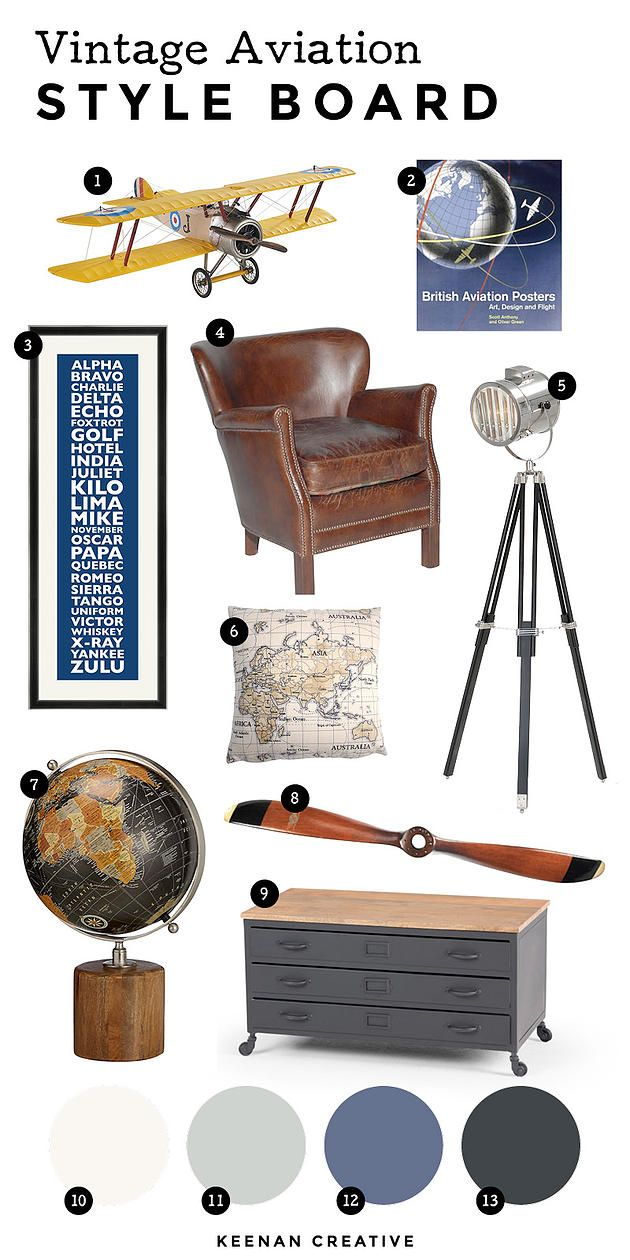 An Aviation Themed Interior Style Board. Ideas for a den or nursery with an aeronautical theme.
