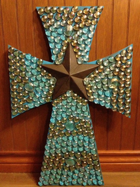 Decorated wood cross by grammieself on Etsy, $50.00