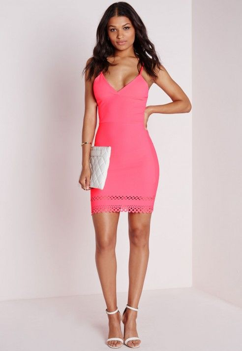 Laser Cut Hem Bodycon Dress Pink - Dresses - Bodycon Dresses - Missguided