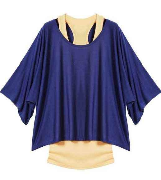 Navy Batwing Short Sleeve Loose Two Pieces T-Shirt US$22.13
