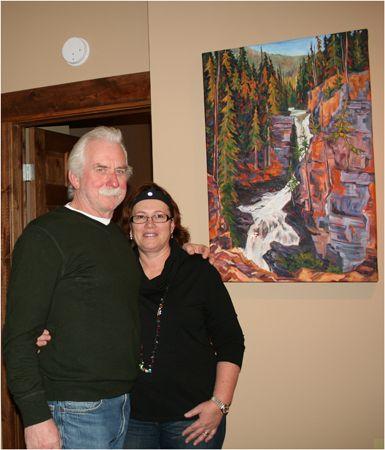 """Terry & Linda Tillsley with """"Tillsley's Meachen Creek Falls"""""""