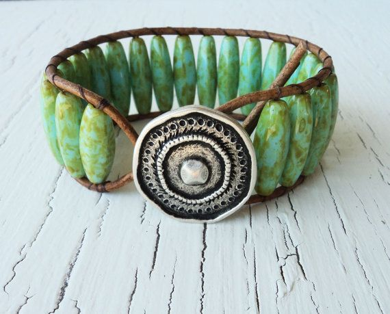 Leather Cuff Turquoise and Green Beaded Cuff by thehummingbead