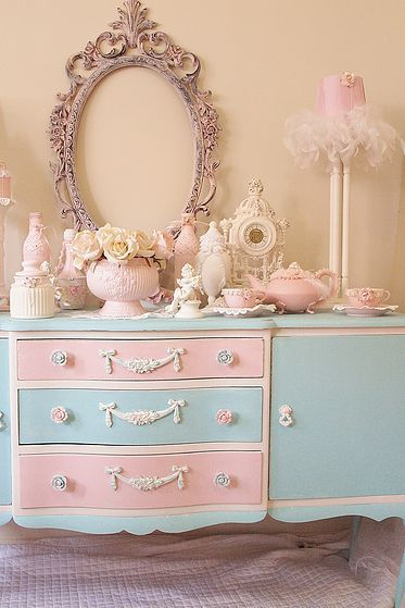 Luv My Stuff Gallery Shabby Chic Pink And Aqua Dresser