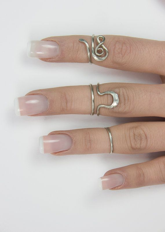 Bohemian triple band ring set  knuckle tube by AntimetryCrafts
