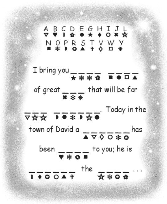Jesus' birth announcement word decoder activity