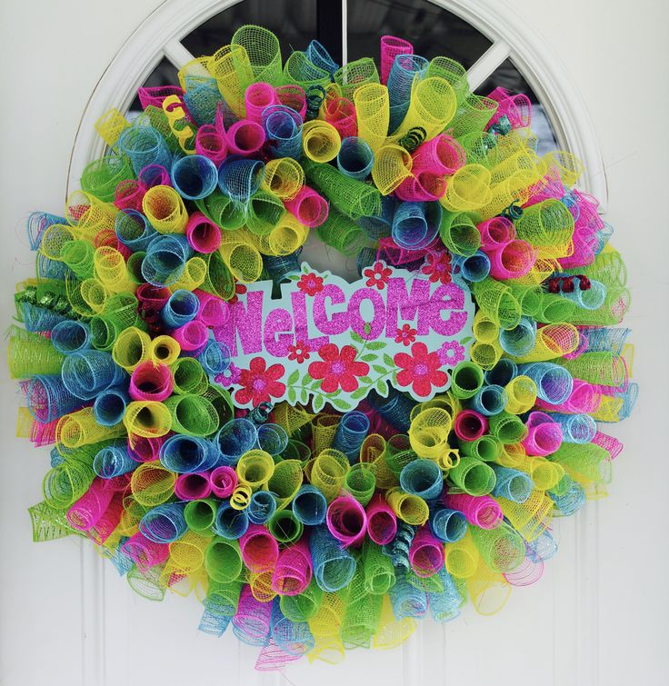 "Excited to share the latest addition to my #etsy shop: Spring Time Wreath, Deco Mesh, Spring Wreath, Yellow, Blue, Green, Pink, Bright, Cheerful, Wreath, Home Decor, ""WELCOME"", Summer http://etsy.me/2ojFHQa #homedecor #blue #easter #pink #entryway #GlitterDazzleSparkle"