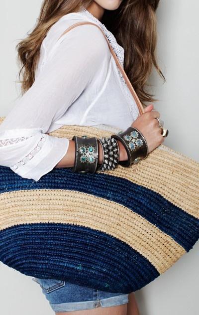 what's not to like here?: Summer Fashion, Summer Beaches, Beach Bags, Bracelets Cuffs, Cute Bracelets, Straws Bags, Beaches Bags, Fashion Women, Baskets Bags