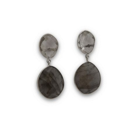SysterP Nugget Earrings Silver Labradorite - Nordic Grace Accessories