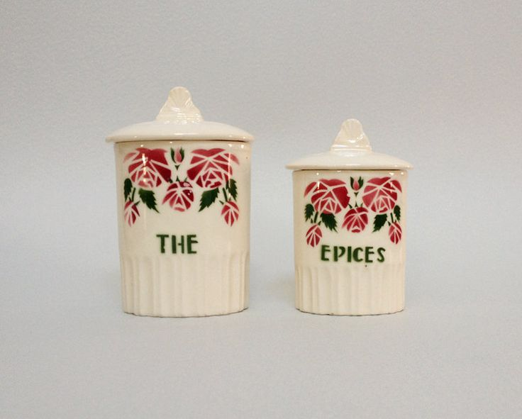 Set of 2 french vintage ceramic kitchen canisters with for Art cuisine evolution 10 piece cooking set