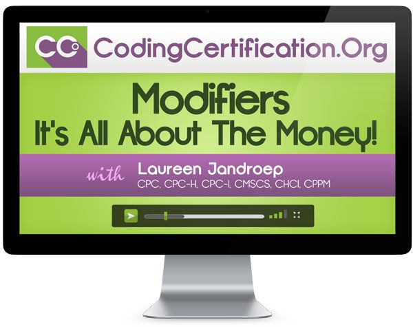 """You Will Learn (Objectives):    How to group modifiers by type   Explain the difference between global package modifiers, EM only modifiers, # of surgeon modifiers, etc.   Apply knowledge immediately for on the job use and for use in preparing for coding certification board exams.   Bonus: Modifier Grid Job Aide (worthy of laminating!)  How It Works    Click """"Add"""