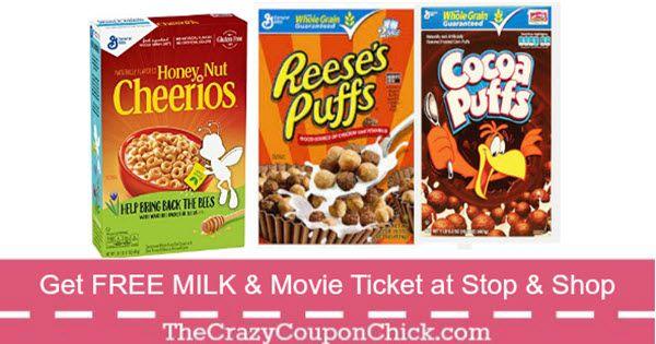 ***FREE Milk & Movie Ticket*** w/Gen'l Mills Cereal Purchase at Stop & Shop