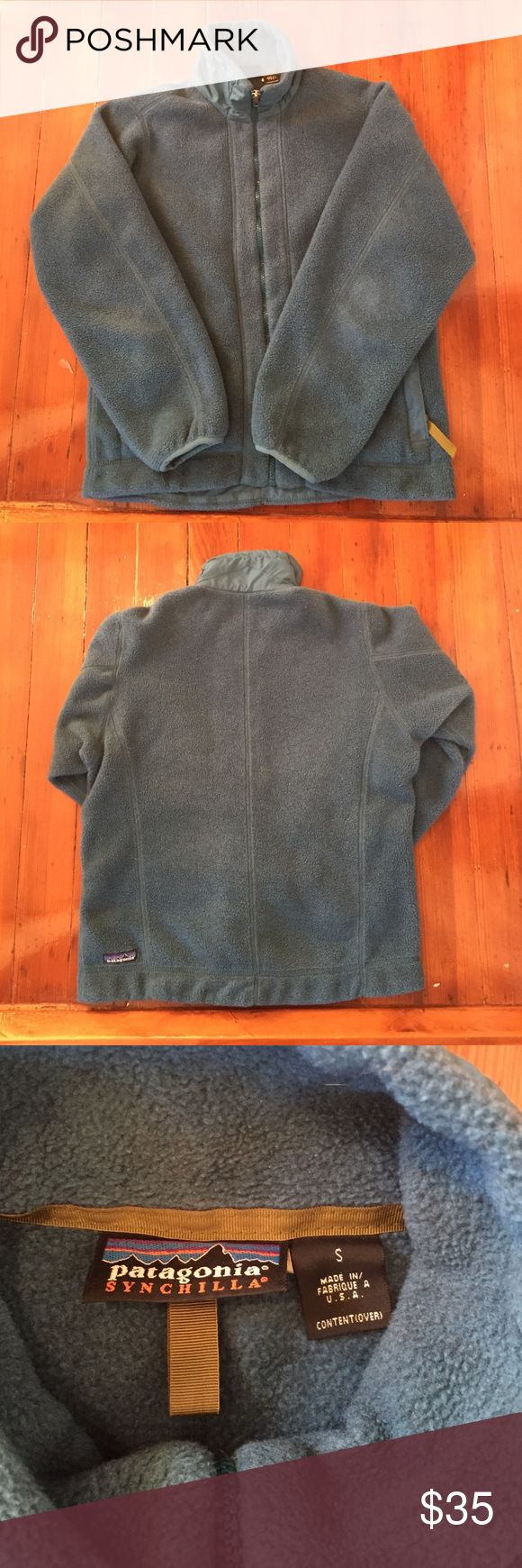 Patagonia synchilla jacket Teal colored Patagonia fleece zip jacket. Has small hole on front so please check pictures. Patagonia Jackets & Coats