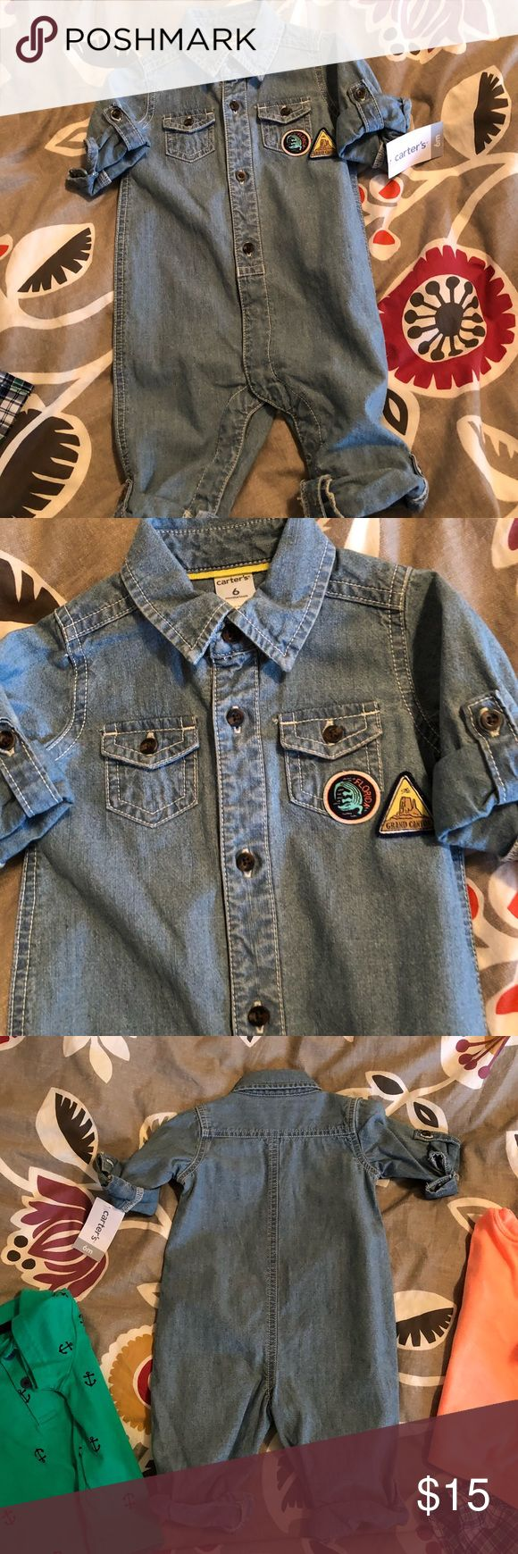 Carter's 6 month one piece jean romper NWT, Never worn cute baby boy outfit. Carter's One Pieces Bodysuits