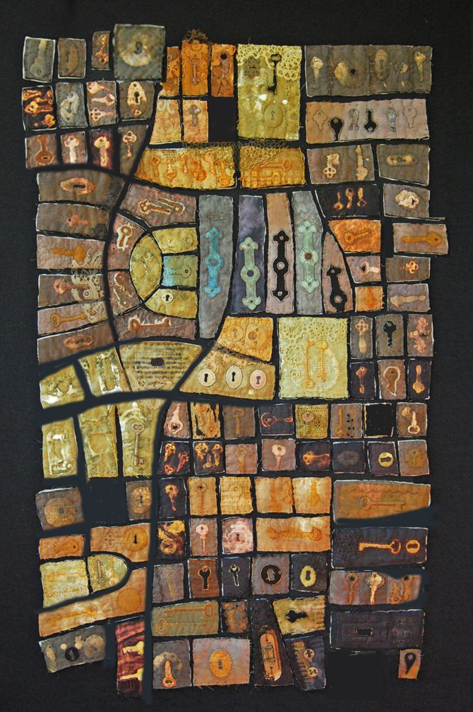Diane Savona: Hurricane, New Orleans After the tsunami piece, I decided to create a series. The design of this piece is based on a map of the Chalmette section of New Orleans. This piece was recently purchased by Rutgers University