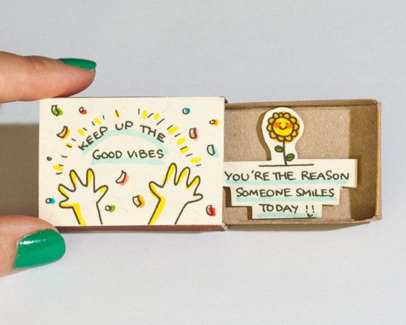Cute Encouragement Card / Friendship Card / Inspirational Card Matchbox / Keep up the Good Vibes - You're the reason someone smiles today
