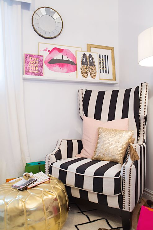 Stephanie Sterjovski - bedrooms - Stop and Smell The Peonies, Made by Girl Large Lips Print, The Mantra Print, striped chair, striped wingba...