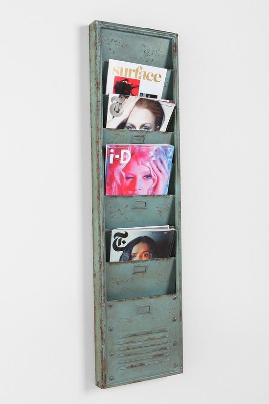 Industrial Magazine Rack  | http://crazyofficedesignideas.blogspot.com  I could reaping something like this hot pink for my pin up bathroom