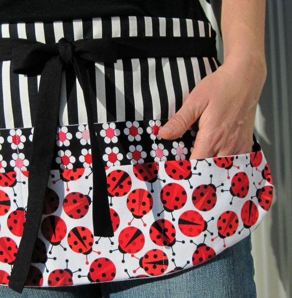 Teacher Apron, Red & Black Flower and Ladybug Utility Half Apron with Eight Pockets for Elementary, Preschool or Daycare Teachers - yeah just what I need!!