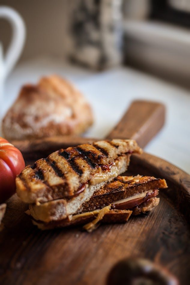 Smoked gouda and tomato sage jam grilled cheese.