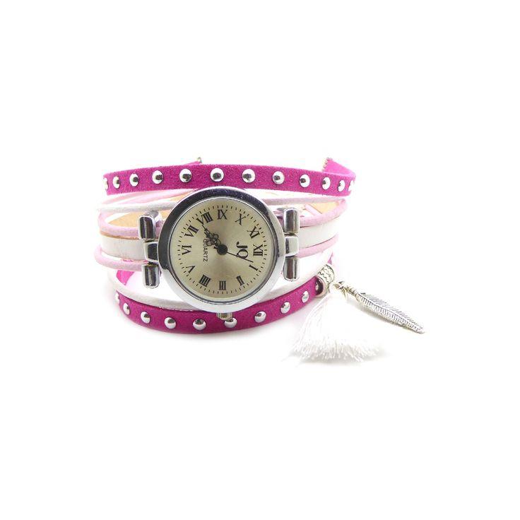 Kit Bracelet montre suédine cloutée fuchsia 5mm, cuir rond 2mm rose et blanc, cuir 5mm blanc, : Kits, tutoriels bijoux par mf-apprets-et-perles