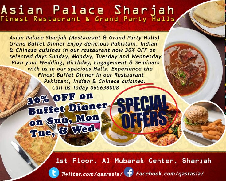 Grand Buffet Dinner Enjoy delicious Pakistani, Indian & Chinese cuisines in our restaurant now 30% OFF on selected days Sunday, Monday, Tuesday and Wednesday. Contact us 065638008