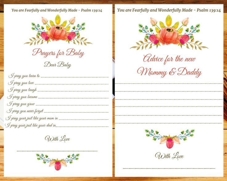 Baby Shower - Prayer for Baby & Advice Cards