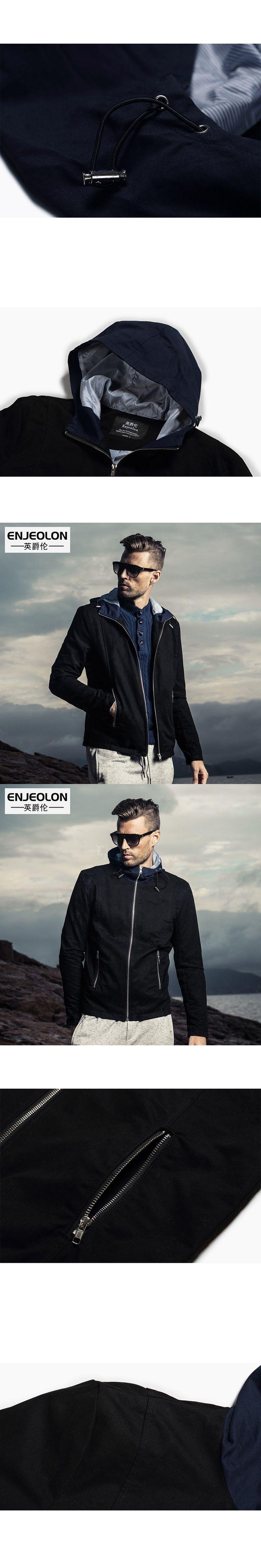 Enjeolon brand 2017 hoodcy Bomber windbreaker jackets men, fashion black solid Mens coats, hoodie collar Men cool clothes WT2006