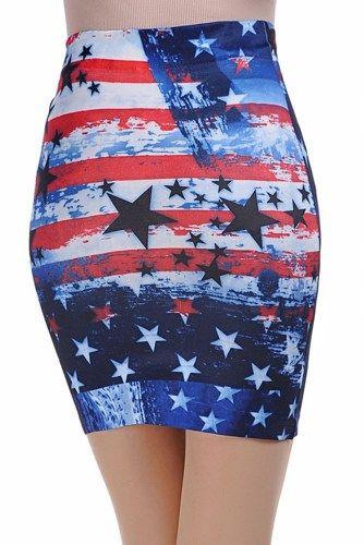 American Flag Tie Dye Jean Skirt