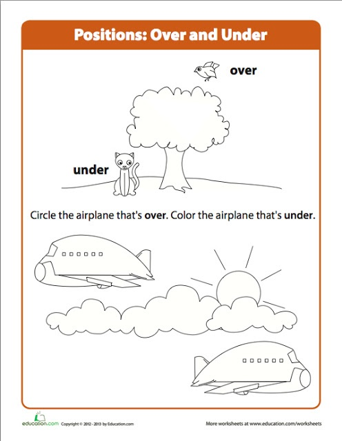 Preschool Over Under Airplane worksheet : Preschool Fun ...