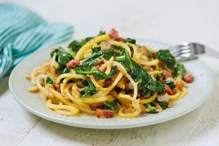 Celeriac Spaghetti + Kale Carbonara @HemsleyHemsley