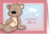 Maria - Teddy Bear Baby Shower Invitation Card by Greeting Card Universe. $3.00. 5 x 7 inch premium quality folded paper greeting card. Baby Shower invitations & photo Baby Shower invitations are available at Greeting Card Universe. Send a custom invitation to your friends and family. Send a Baby Shower invitation from Greeting Card Universe this year. This paper card includes the following themes: Maria, personalized baby girl baby shower invitation, and teddy bear...