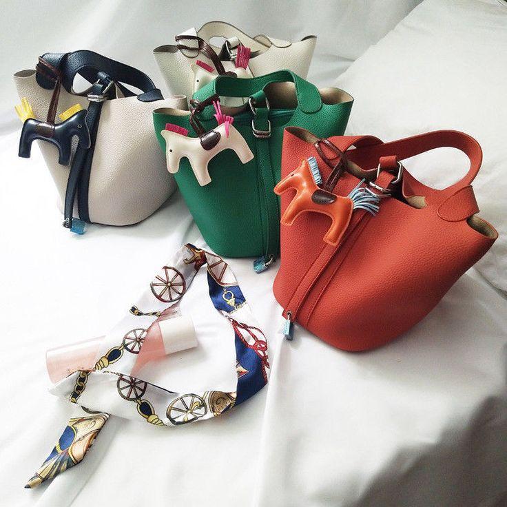 2017 Fashion Women Basket Bag Lichee Pattern Genuine Leather Bucket Handbag