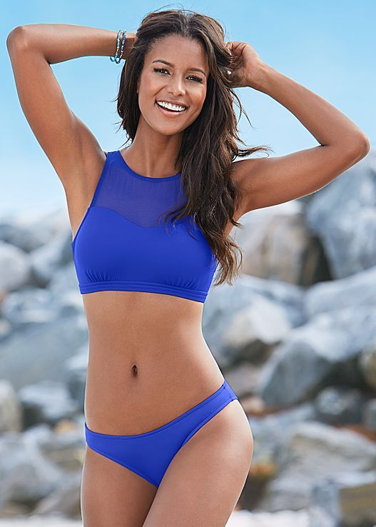 Sporty, flirty and fun! Venus mesh high neck bikini top with Venus low rise bikini bottom.