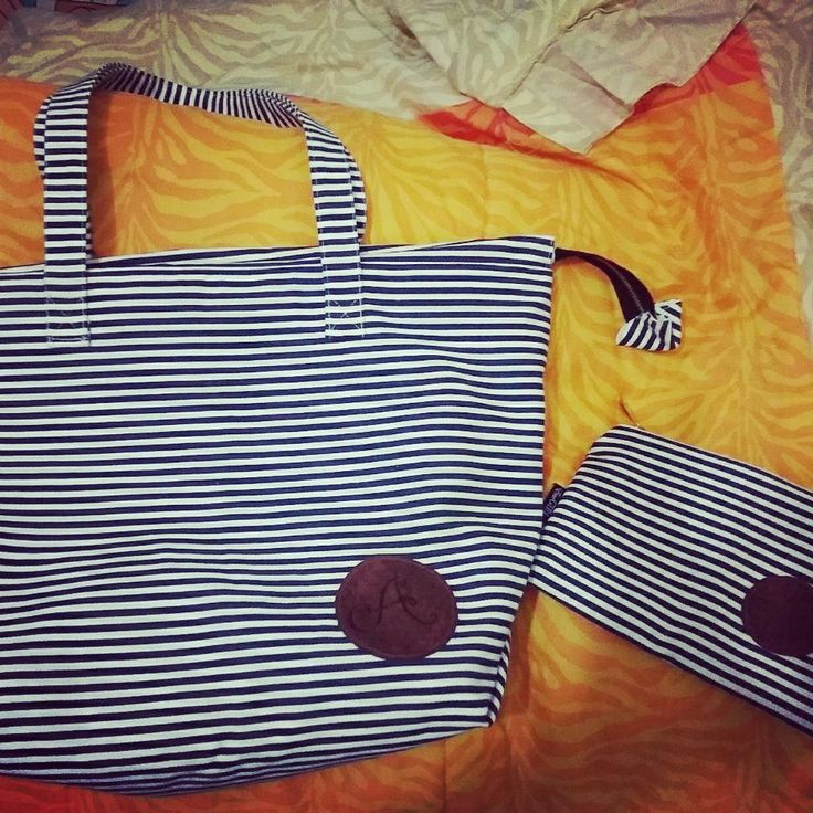 Handmade personalized canvas totebag - by EmoGIRL! Handmade bags and accessories #canvas #handmade #stripe #blue #white
