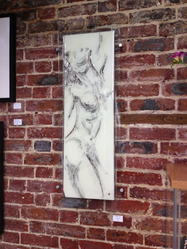'My Nude' fused glass with copper inclusions. 35cm x 100 cm