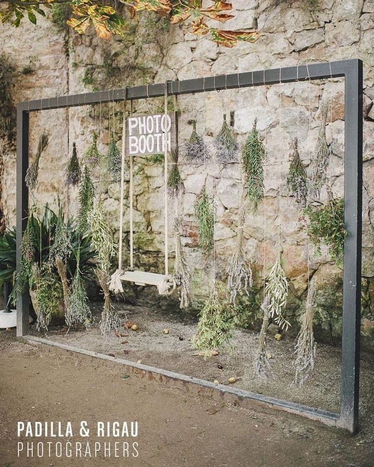 Im Freien Hochzeit Foto Stand Hintergrund mit hängenden Lavendel, eine schöne …