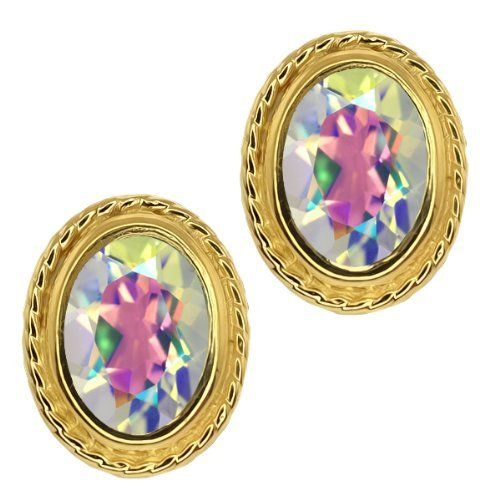 1.90 Ct Oval Shape Mercury Mist Mystic Topaz Gold Plated Silver Stud Earrings Gem Stone King. $24.99. This Item Contains 100% Natural Stones. This item is proudly custom made in the USA. Save 75% Off!