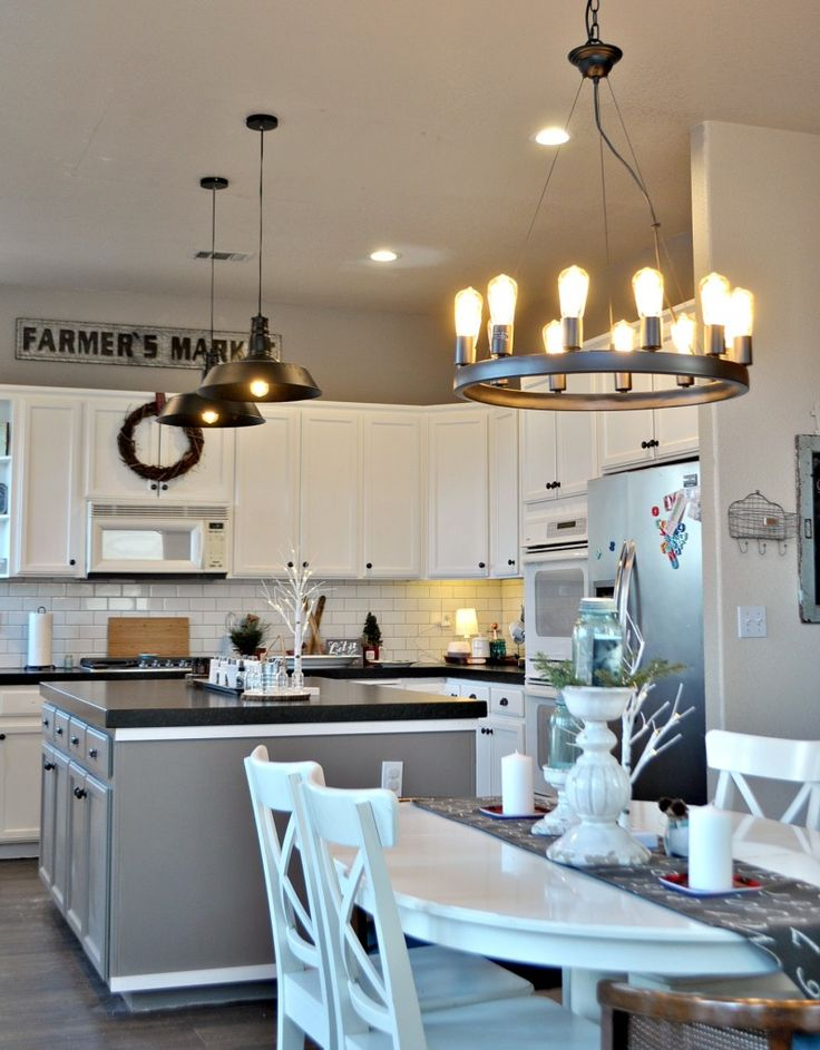 Walls:  Amazing Gray, Sherwin Williams.  New kitchen/dining lights details