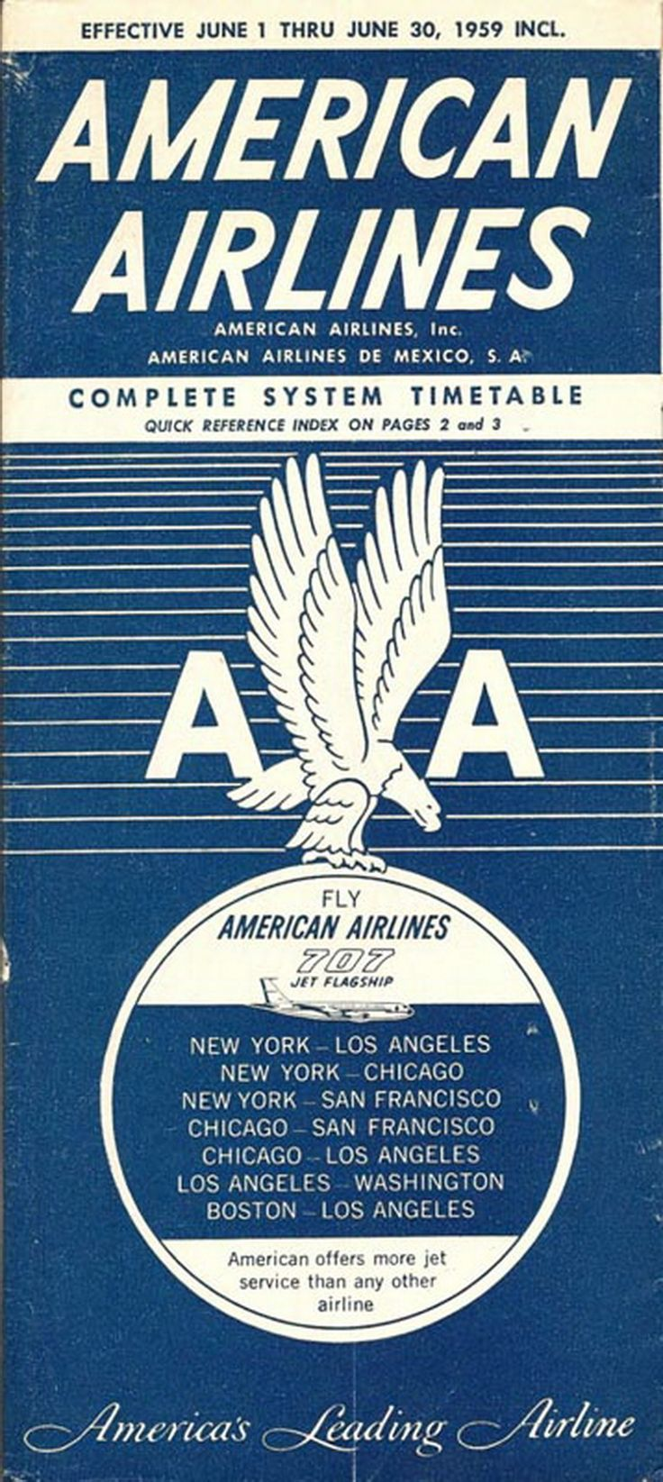 American Airlines Vintage Airline Timetable From 1959