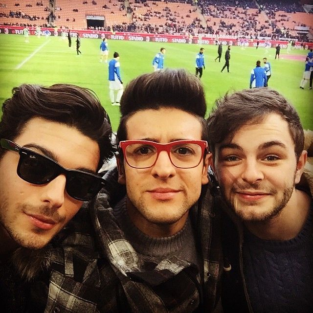 Gian and Piero attending a soccer game with friend, Lorenzo Fragola from Sanremo,