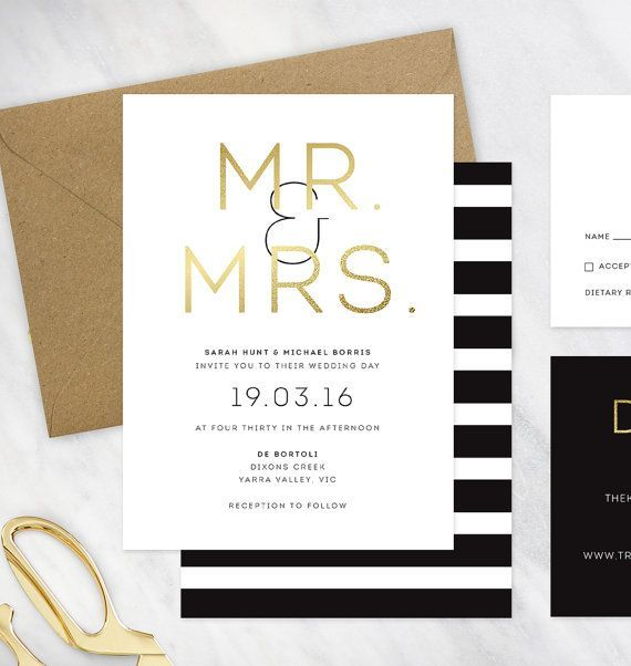 awesome Black, Gold and White Wedding Invitation - DEPOSIT