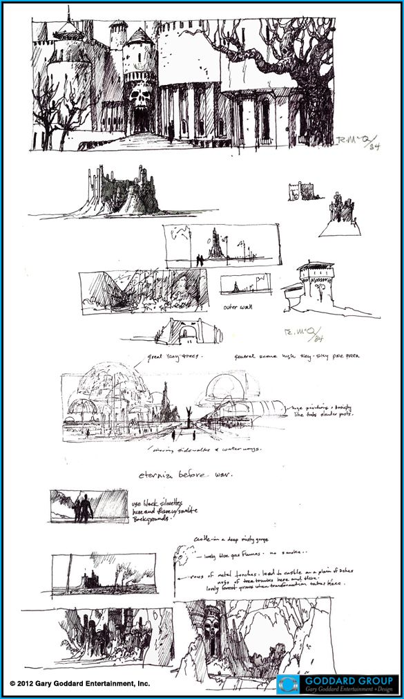 Ralph McQuarrie's concepts for He-Man Masters of the Universe http://filmsketchr.blogspot.com/2012/04/mcquarrie-almost-brought-power-of.html