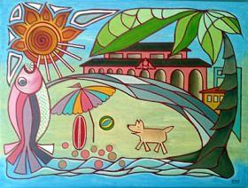 The famous Bondi pavilion...  Bondi Dog 130CM X 100CM Diane Ferguson Oil on Canvas $1130