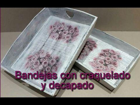 Bandejas decoradas con decapado, craquelado y decoupage #manualidades #crafts #decoración