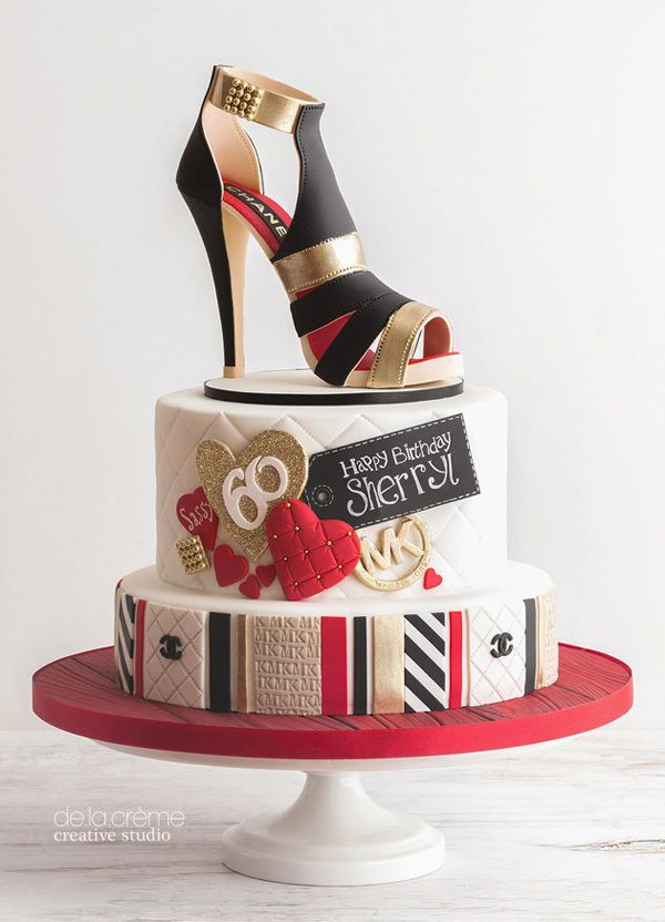 21st Birthday Cake With High Heel Shoe Topper By Mari S Boutique