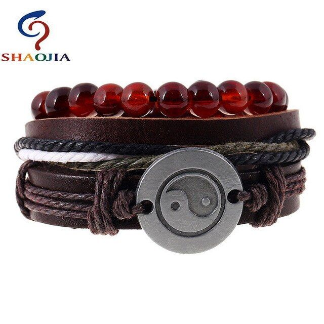 3 pcs/set vintage male bracelets wooden beads ball strand bracelets rope braided…   – Products