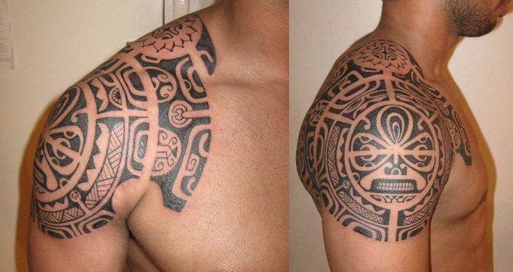 Tattoo Pictures of Polynesian Art on Shoulder by Po'oino