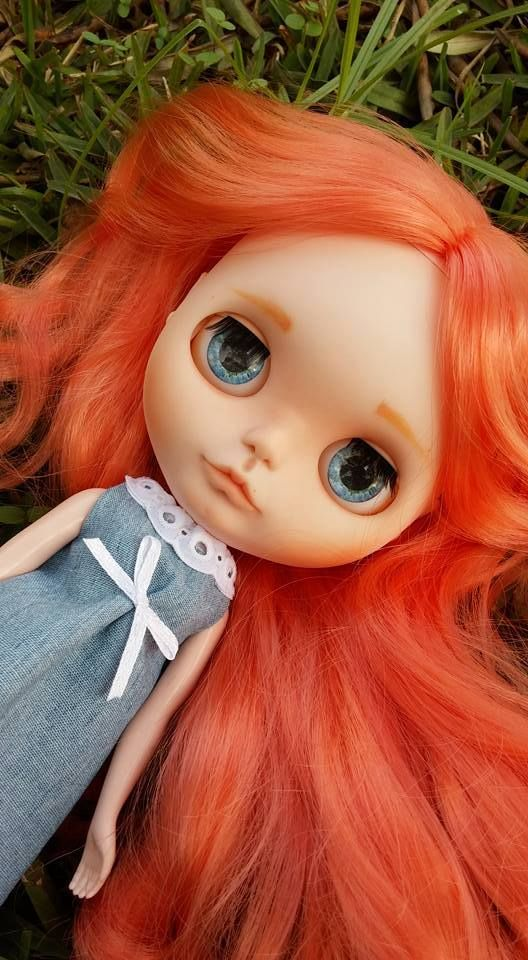 Carola. Custom Eve´s dream shop. more in facebook www.facebook.com/... #Blythe #blythedoll #customblythe #orangehair #evesdreamshop